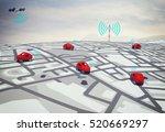 3d rendering gps route   Shutterstock . vector #520669297