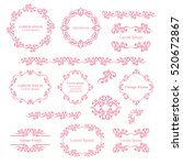 Floral design elements set, ornamental vintage frames, borders in pink color. Page decoration. Vector illustration. Isolated on white background. Can use for birthday card, wedding invitations.