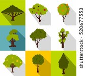 types of trees icons set. flat...