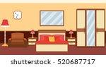 bedroom interior in warm colors ... | Shutterstock .eps vector #520687717