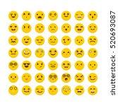 set of emoticons. funny cartoon ... | Shutterstock .eps vector #520693087