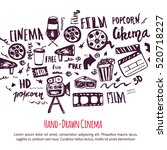 cinema hand drawn set with... | Shutterstock .eps vector #520718227