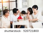 asian family finance concept...   Shutterstock . vector #520721803