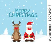 christmas card with santa claus ... | Shutterstock .eps vector #520724047