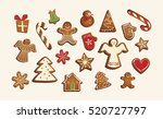 christmas set of cute... | Shutterstock .eps vector #520727797