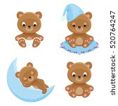 four different teddy bears... | Shutterstock .eps vector #520764247