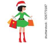 christmas girl elf cartoon...   Shutterstock .eps vector #520773187