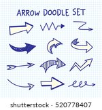 set of arrow doodle on paper... | Shutterstock .eps vector #520778407