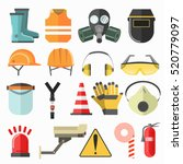 safety work icons. vector icons ... | Shutterstock .eps vector #520779097