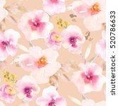 pretty painted flower pattern... | Shutterstock . vector #520786633