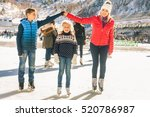 happy family outdoor ice... | Shutterstock . vector #520786987