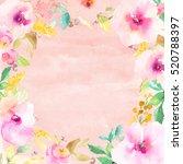 pink watercolor flower wreath... | Shutterstock . vector #520788397