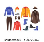 winter clothing man set fashion ... | Shutterstock .eps vector #520790563