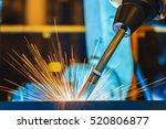 close up robot welding  | Shutterstock . vector #520806877