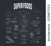 set of superfoods products ... | Shutterstock .eps vector #520807513