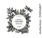 Stock vector floral wedding invitation vintage engraved flowers greeting card vector illustration 520816807