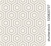 Vector seamless pattern. Modern stylish texture with monochrome trellis. Repeating geometric hexagonal grid. Simple graphic design. Trendy hipster sacred geometry. | Shutterstock vector #520820737