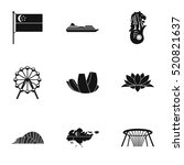 tourism in singapore icons set. ...