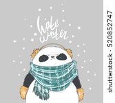 panda in blue scarf and... | Shutterstock .eps vector #520852747