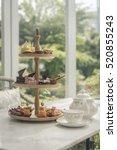 afternoon tea set  tea set with ... | Shutterstock . vector #520855243