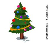 christmas tree in the cartoon... | Shutterstock .eps vector #520864603