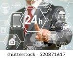 businessman presses 24 7... | Shutterstock . vector #520871617