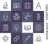 science and research line icons ... | Shutterstock .eps vector #520879003