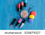 decorative cosmetics on wooden... | Shutterstock . vector #520879327