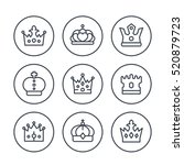 crowns line icons in circles on ... | Shutterstock .eps vector #520879723