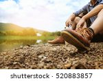 traveler sitting on the ground... | Shutterstock . vector #520883857