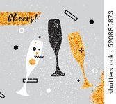 champagne flutes. cheerful... | Shutterstock .eps vector #520885873