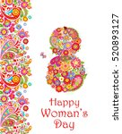 greeting card with flowers... | Shutterstock .eps vector #520893127