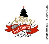 happy holidays logotype... | Shutterstock .eps vector #520904683