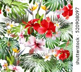 amazing tropical pattern photo... | Shutterstock . vector #520908097