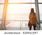 traveler tourist girl and young ... | Shutterstock . vector #520921597