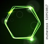 glow green neon bright hexagon... | Shutterstock .eps vector #520923817