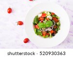 greek salad with fresh tomato ... | Shutterstock . vector #520930363