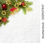 fir branch with christmas... | Shutterstock . vector #520937947