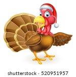 cartoon christmas turkey bird... | Shutterstock .eps vector #520951957