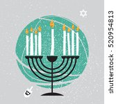 cute happy hanukkah greeting... | Shutterstock .eps vector #520954813