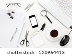 top view accessories office... | Shutterstock . vector #520964413
