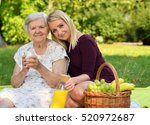 elderly woman and young woman... | Shutterstock . vector #520972687