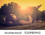 vintage photo of relaxing woman ... | Shutterstock . vector #520980943