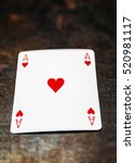 Small photo of Poker play. Ace of hearts.