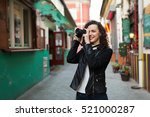 woman traveling and taking...