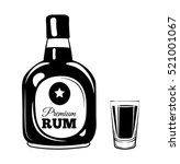 rum bottle and glass. alcohol... | Shutterstock .eps vector #521001067