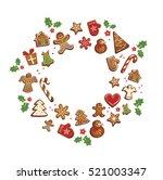 gingerbread cookies set... | Shutterstock .eps vector #521003347