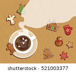 top view of christmas... | Shutterstock .eps vector #521003377