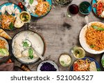 traditional italian food table  ... | Shutterstock . vector #521006527