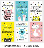 set of 6 cute creative cards... | Shutterstock .eps vector #521011207
